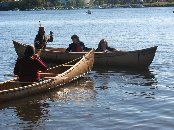 The two new Maliseet canoes